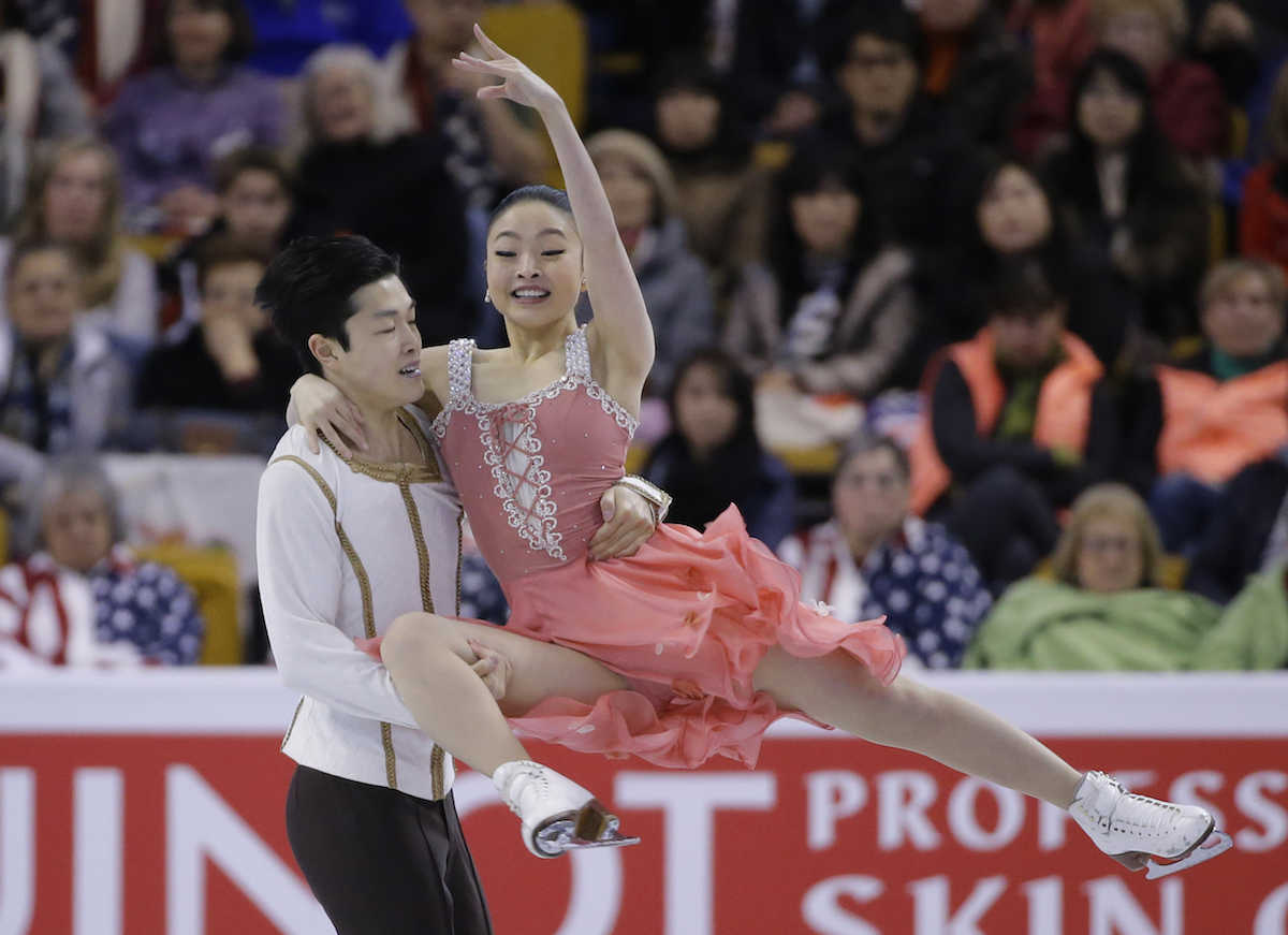 Maia Shibutani and Alex Shibutani, of the United States, compete during the Ice Dance short program at the World Figure Skating Championships, Wednesday, March 30, 2016, in Boston. (AP Photo/Elise Amendola)