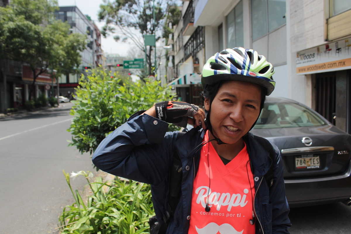 "Mitzi Rodríguez has been a ""Rappitendero"" for two months and works to bring Mexico City residents groceries 36 hours a week. Photo: The News/Caitlin Donohue"