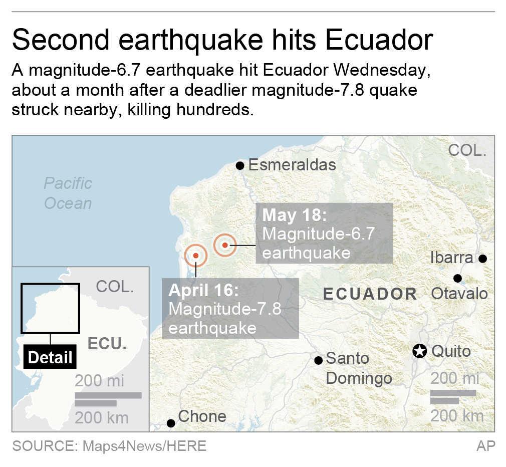 Map locates magnitude-6.7 and magnitude-7.8 quakes in Ecuador