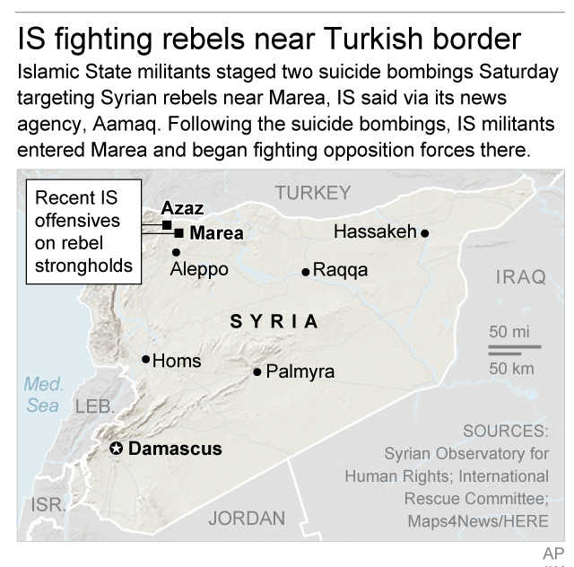 Map locates rebel strongholds in northern Syria where the Islamic State group has launched offensives in recent days; 2c x 3 inches; 96.3 mm x 76 mm;